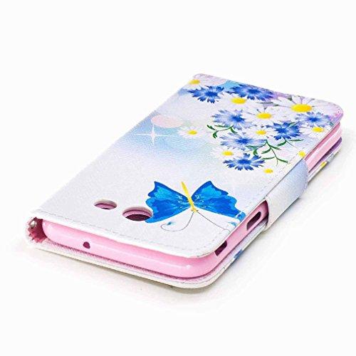 Yiizy Samsung Galaxy J3 (2017) Funda, Blue Butterfly Diseño Solapa Flip Billetera Carcasa Tapa Estuches Premium PU Cuero Cover Cáscara Bumper Protector Slim Piel Shell Case Stand Ranura para Tarjetas
