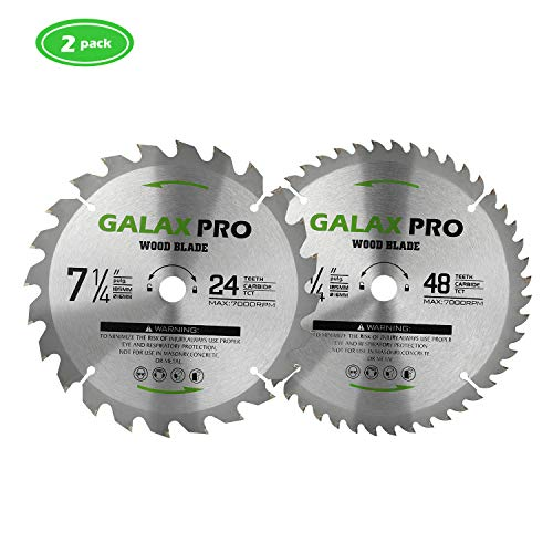 "Circular Saw Blade, GALAX PRO 7 1/4""(185MM) 24 Tooth & 48 tooth Tungsten Carbide Tipped Circular Wood Cutting Saw Blade with 5/8""(16mm) Arbor for Wood Cutting(pack of 2)"