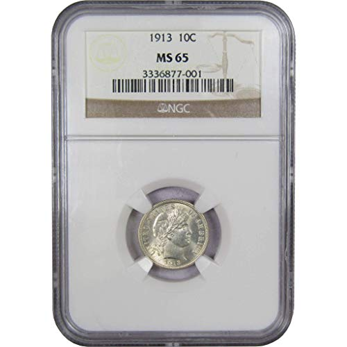 1913 10c Barber Silver Dime MS-65 NGC
