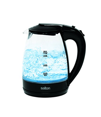 Salton GK1584 Cordless Electric Glass Kettle, 1.7 Liter, Bla