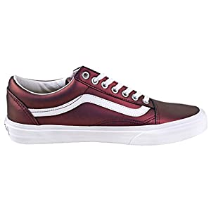 Vans Women's Muted Metallic Old Skool Skate Shoes (10.5 B(M) US, (Muted Metallic) Red/Gold)