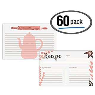60-Pack Premium Double Sided Recipe Cards, 4 x 6 inch, by Better Kitchen Products, Recipe Index Cards, 60 Pack