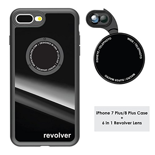 Ztylus Gloss Black Revolver M Series Camera Kit: 6 in 1 Lens with Case for iPhone 7 Plus/8 Plus - 2x Telephoto Lens, Macro, Super Macro Lens, Wide Angle Lens (Gloss Black)