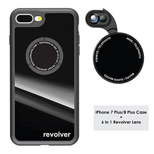 Ztylus Gloss Black Revolver M Series Camera Kit: 6 in 1 Lens with Case for iPhone 7 Plus/8 Plus - 2x Telephoto Lens, Macro, Super Macro Lens, Wide Angle Lens (Gloss Black)