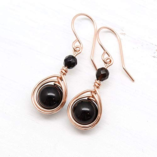 (Black Onyx Rose Gold Filled Handmade Wire Wrapped Earrings)