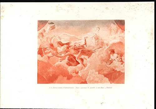 Choir of Angels Blowing Horns Clouds Divine Scenery 1892 antique fine arts print