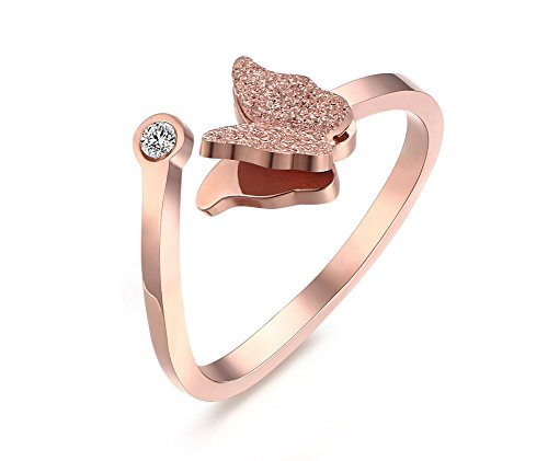 VNOX Womens Stainless Steel Cubic Zirconia Butterfly Matte Finish Adjustable Cuff Engagement Ring Rose Gold Plated