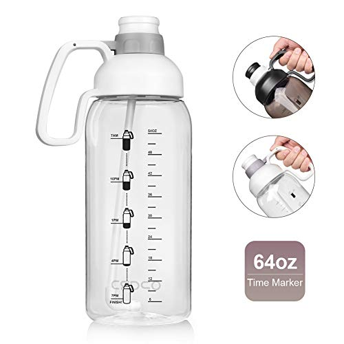 Opard 64 Oz Water Bottle with Time Marker Half Gallon Motivational Water Jug with Straw Handle Sports Water Bottle BPA Free Reusable for Gym Men Women (White)