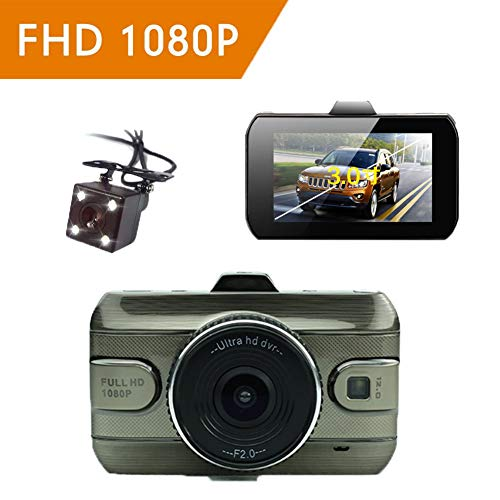 ZYWX Full HD 1080P 3 Inch Car Video Recorder 170 Wide Angle, Loop Recording, Motion Detection, All Day Monitoring, Night Vision Driving Recorder
