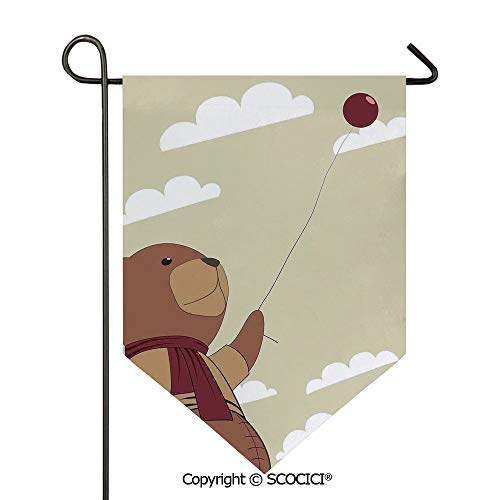 (SCOCICI Easy Clean Durable Charming 12x18.5in Garden Flag A Melancholic Teddy Bear with Scarf Holding a Balloon Clouds in The Sky Clipart,Beige Cinnamon Double Sided Printed,Flag Pole NOT Included )
