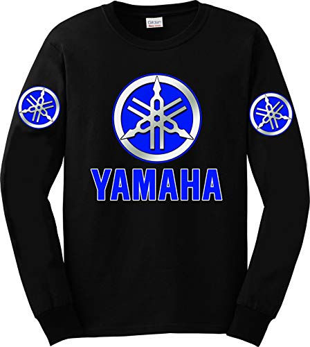 Yamaha Blue Logo Long Sleeve T-Shirt, XL Black