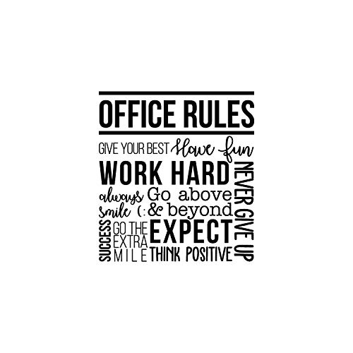 Vinyl Wall Art Decal - Office Rules Give Your Best Work Hard Never Give Up Think Positive - 40 x 36.5 - Modern Motivational Quote for Home Office Workplace School Decoration Sticker (Black)