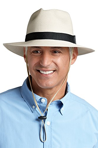 Coolibar UPF 50+ Mens SmartStraw Packable Fedora Hat - Sun Protective