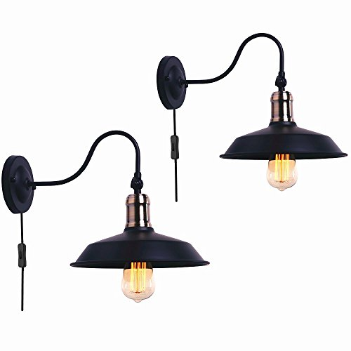 Wall Sconces Black Gooseneck Lamp Plug in Cord Wall Lighting for Warehouse Bedroom Barn Set of Two (Black-2 Pack)
