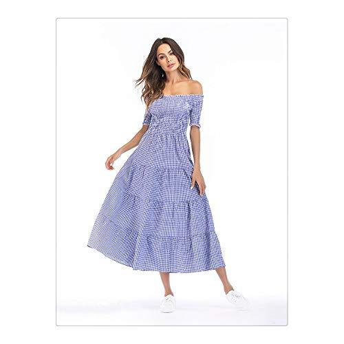 BBethun Nouveau Produit de vtements pour Femmes Un Mot Collier Plaid lgant Temperament Dress Jupe Longue (Color : Red, Size : M) Blue