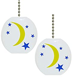 Set of 2 Celestial Moon and Stars Solid CERAMIC Fan Pulls
