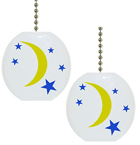 Set of 2 Celestial Moon and Stars Solid CERAMIC Fan Pulls by Carolina Hardware and Decor