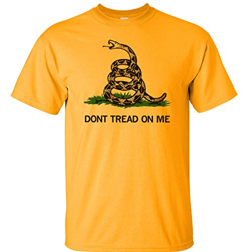 "Made in USA Front Print Gadsden ""Don't Tread On Me"" T-Shirt Yellow Large"