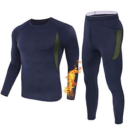 Men's Thermal Underwear Long Johns Compression Set for Mens (Blue, S)