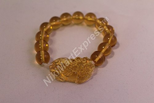 Chinese Citrine Yellow Crystal Bead Dragon Pi Xiu Pi Yao Lucky Protection Bangle Feng Shui Bracelet ()