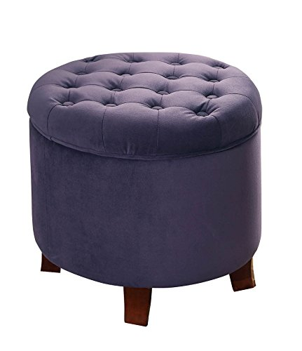 HomePop Velvet Tufted Round Storage Ottoman with Removable Lid, Purple