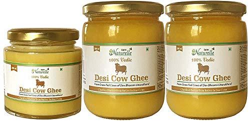 Farm Naturelle Desi Cow Ghee (Pack of 2) - 100% Pure From A2 Milk - (2 Bottles - 500 ML + Free 1 Bottle - 200 ML) -  7108327018937