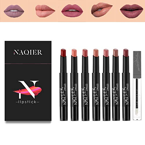 NAQIER Matte Lipstick Set, 7PCS Nude Moisturizer Smooth Lip Stick 1PCS Lip Plumping, Waterproof liquid lipstick mate Make up Velvet lip gloss Cosmetic