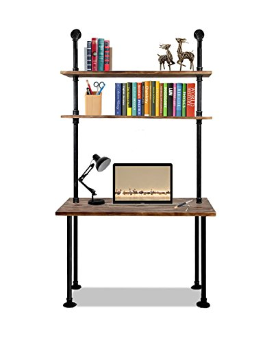 Articial 79-inch Industrial Laptop Desk Solid Wood Computer Desk Wall Pipe Desk with Shelves Computer Table for Home Office (Industrial Computer Desk)