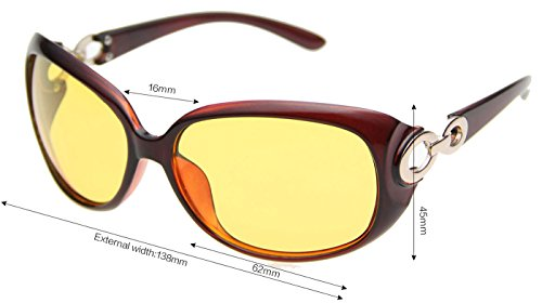 Beison Womens Night Vision Goggles Driving Glasses Polarized Sunglasses (Brown, Night Vision Yellow)
