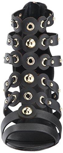 Nicole Miller Women's NAPOLI-NM Heeled Sandal Black Leather EsQDN4D7AO