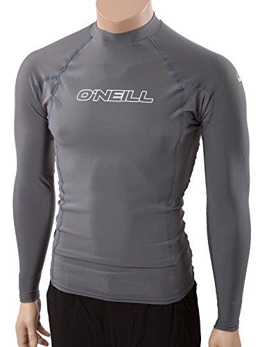 O'Neill Men's Basic Skins UPF 50+ Long Sleeve Rash Guard, Smoke, Medium (Rash Skin Guard Dive)