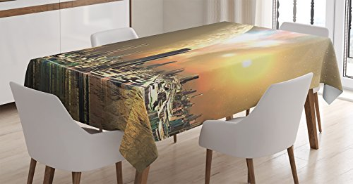 Apartment Decor Tablecloth by Ambesonne, Utopia Islands