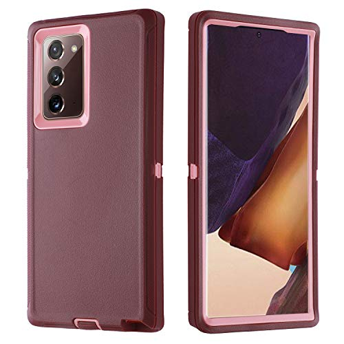 smartelf Case for Samsung Galaxy Note 20 Heavy Duty Shockproof Drop Protection Dual Layer Protective Cover for Galaxy Note 20,No Screen Protector-Purple/Pink