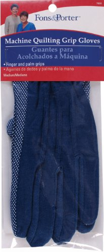 Fons and Porter Machine Quilting Grip Gloves, Medium, Blue, 1-Pair