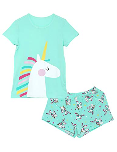 Girls Unicorn Pajamas - 100% Cotton Short Sleeve Tee & Shorts Summer Jammies Set Sleepwear Size 8 Mint -