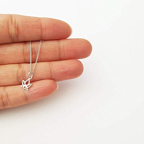 Tiny Sterling Silver Lotus Bud Charm Necklace 18