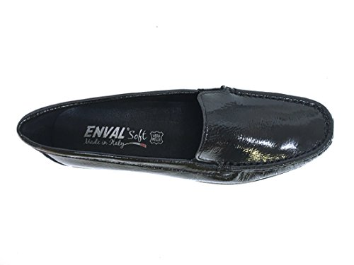 ENVAL SOFT 8950 Nero Scarpa Donna Mocassino Pelle Made in Italy
