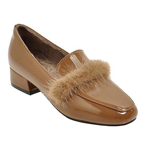 Charme Pied Femmes Rétro Hiver Velours Doublure En Cuir Verni Mocassins Chaussures Abricot