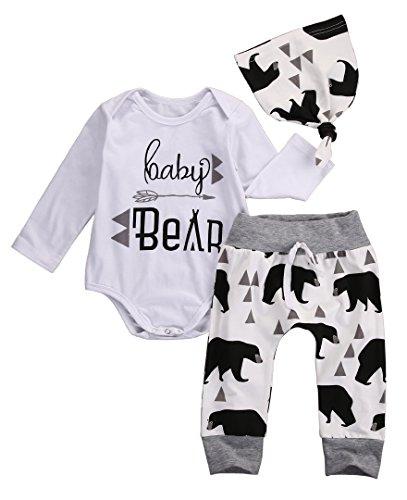 Infant Newborn Baby Bear Arrow Romper Pants Hat Outfits 3 Piece Unisex Clothes Sets (0-6 Months, Long Sleeve)]()