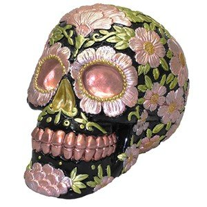 (SUGAR SKULL COIN BANK METALLIC COPPER AND PINK 3.875x5.75x4.25