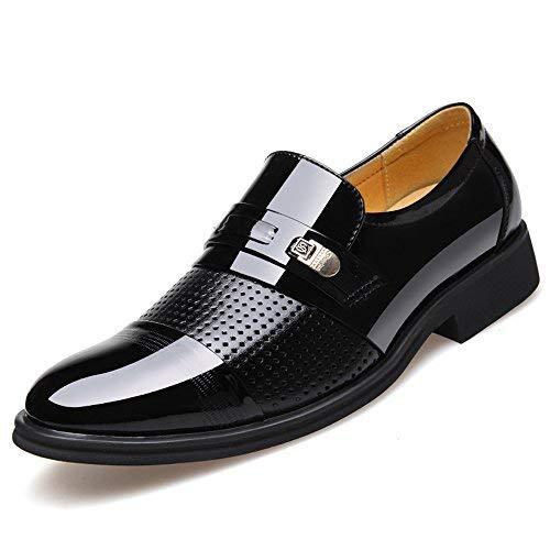 Blivener Men's Tuxedo Patent Leather Dress Shoes Slip on Oxfords 03Black 12
