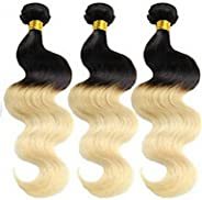 YAMEIJIA 3Pcs/Lot Brazilian Virgin Hair Body Wave Ombre Hair Extensions Two Tone Color 1B 613 Honey Blonde Omb