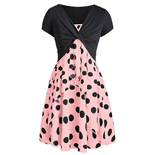 Dresses for Women Casual Summer Short Sleeve Bow Knot Cover Up Tops Sunflower Print Strap Midi Dress Pleated Sun Dresses (X-Large, Z-6 Polka Dot Pink)