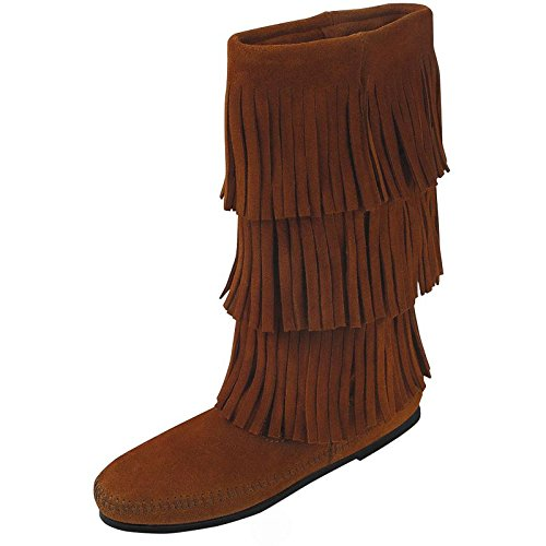 Minnetonka Womens Calf Hi 3-Layer Fringe Boot (6, Brown) -