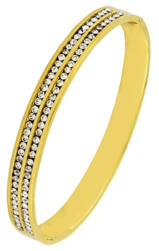 18K Gold 316L Surgical Stainless Steel CZ American Diamond Openable Bangle Cuff Kada Bracelet Men