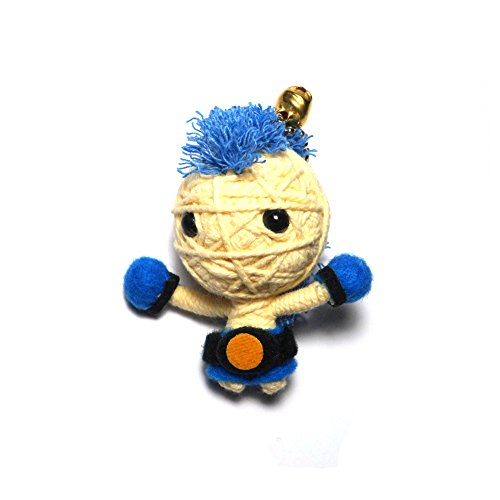 Champion Blue Boxing Muay Thai String Voodoo Dolls Keychain 2.5
