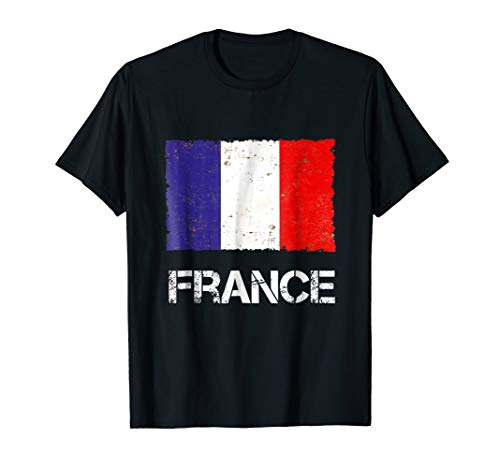 (France Flag Vintage T-shirt I Paris Gift Retro Look )