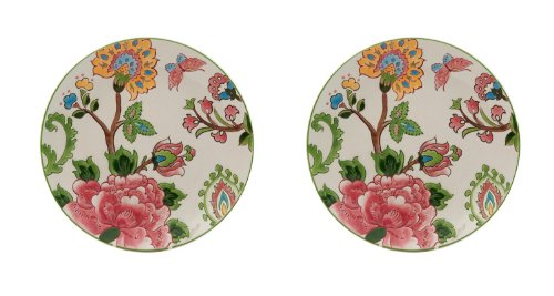 Gracie China by Coastline Imports Dutch Wax Hand Painted Ceramic Salad Plate, 8-Inch, Pink Peony, Set of - Peony Pink China