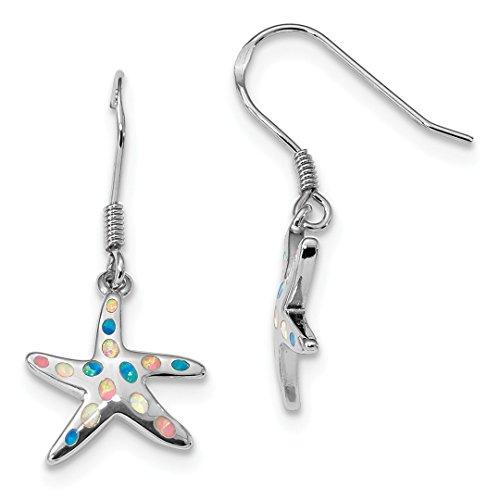 Pink/blue Created Opal Starfish Drop Dangle Chandelier Earrings Animal Sea Life Fine Jewelry For Women Gift Set ()