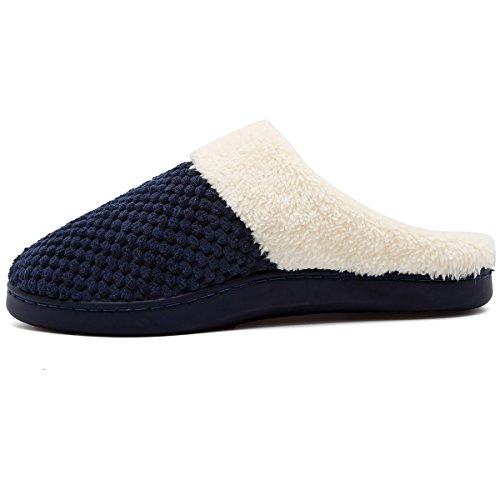 Vifuur Dames Winter Slippers Korte Pluche Voering Traagschuim Anti-slip Zool Huis Schoenen Indoor Outdoor Blauw